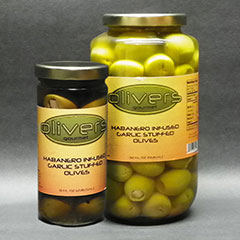 Habanero Infused, Garlic Stuffed Olives